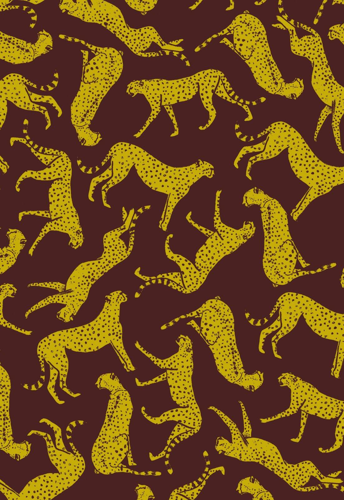 Jane Makower United Kingdom England Retro Cheetah Big Cat Wildlife UK Cotton Quilt Fabric JM08