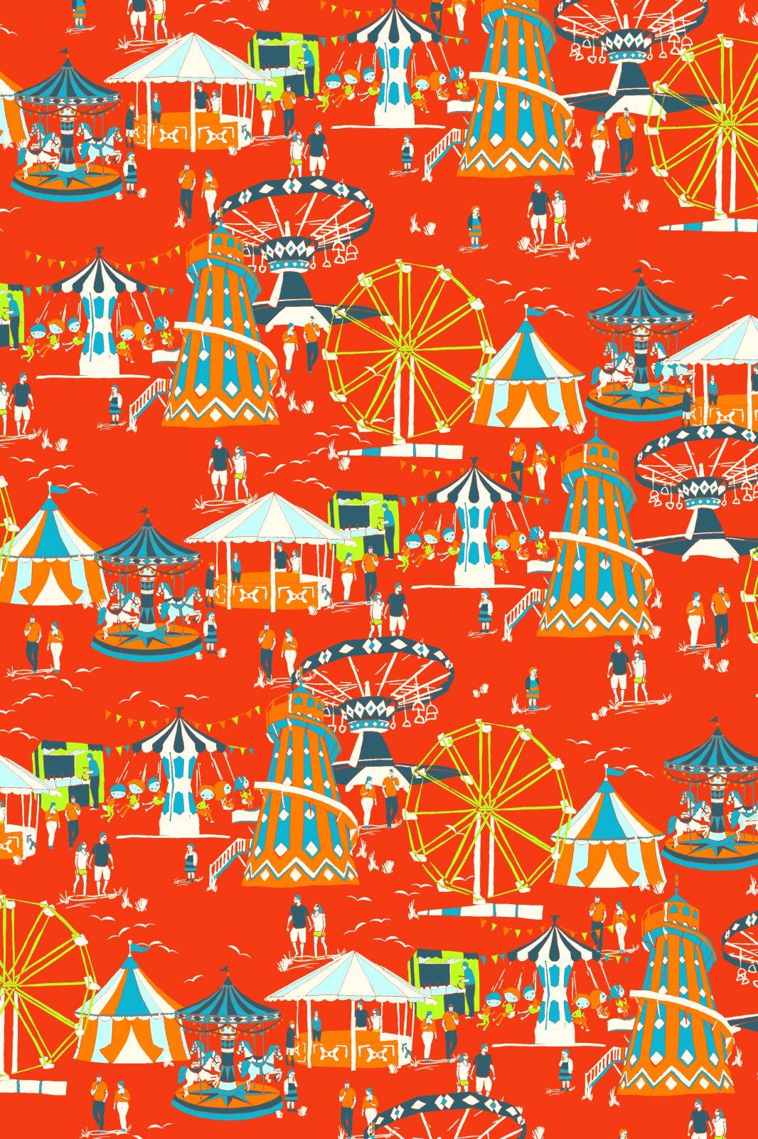 Jane Makower United Kingdom England Retro Town Fair Festival Carnival Merry Go Round UK Cotton Quilt Fabric JM05