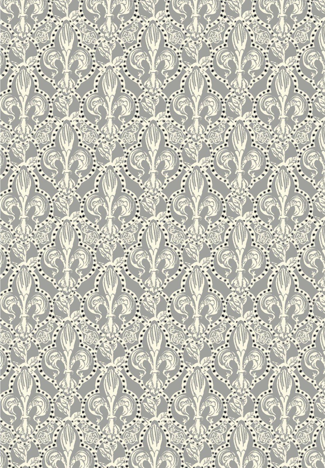 Jane Makower United Kingdom England Retro Fleur de Lis France Paris Medieval Fleur de Lys UK Cotton Quilt Fabric JM09