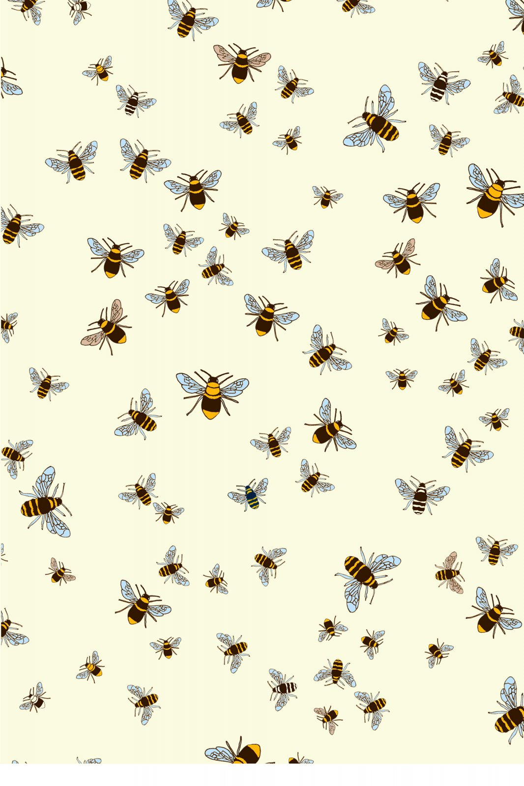Jane Makower United Kingdom England Retro Bees Insect Honeybee Wildlife UK Cotton Quilt Fabric JM04