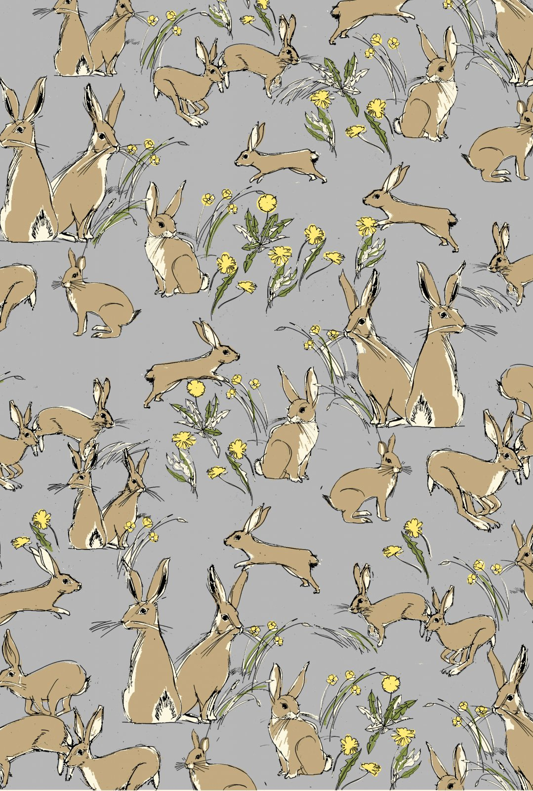 Jane Makower United Kingdom England Retro Bunny Rabbit Bunnies UK Cotton Quilt Fabric JM01