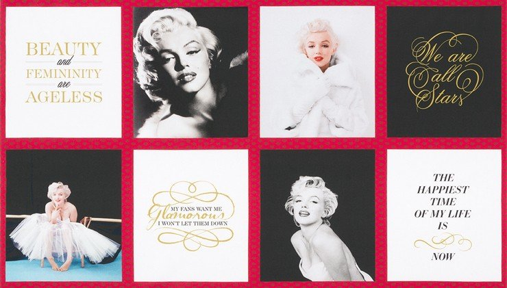 Marilyn Monroe Glamorous Sexy Starlet Movie Star Panel Cotton Quilt Fabric