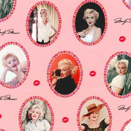 Marilyn Monroe Glamorous Sexy Starlet Movie Star Cameos Cotton Quilt Fabric