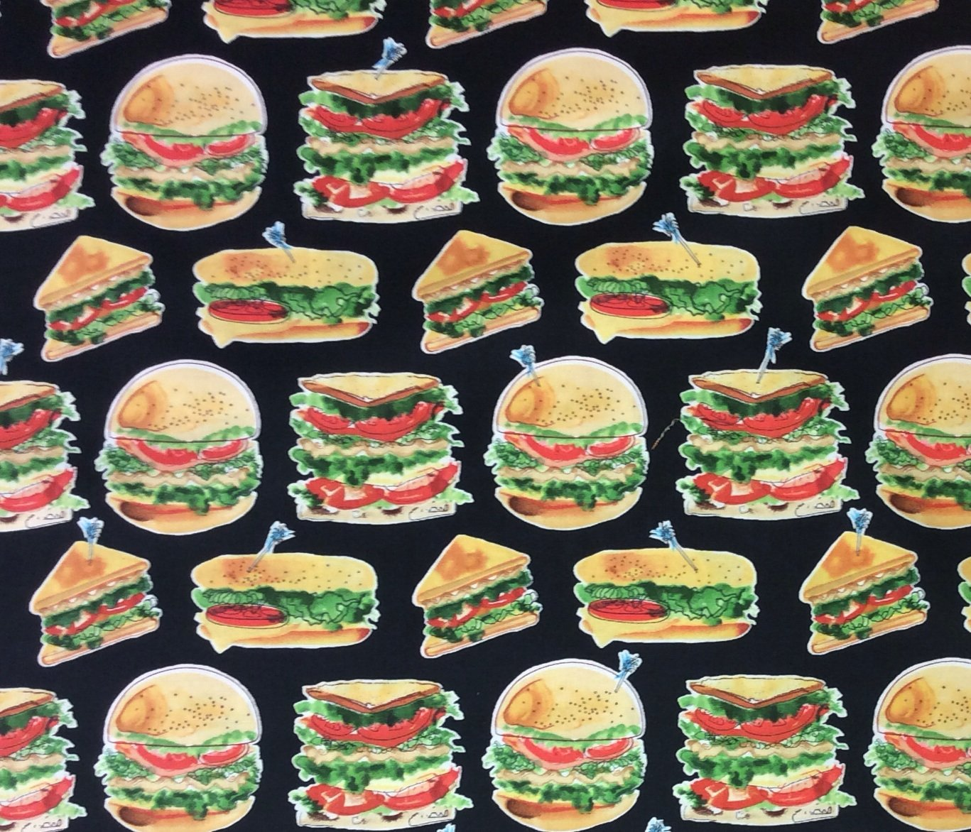 Hamburgers Sandwiches Subs Panini Lunch Food Dinner Quilting Cotton Fabric MD208