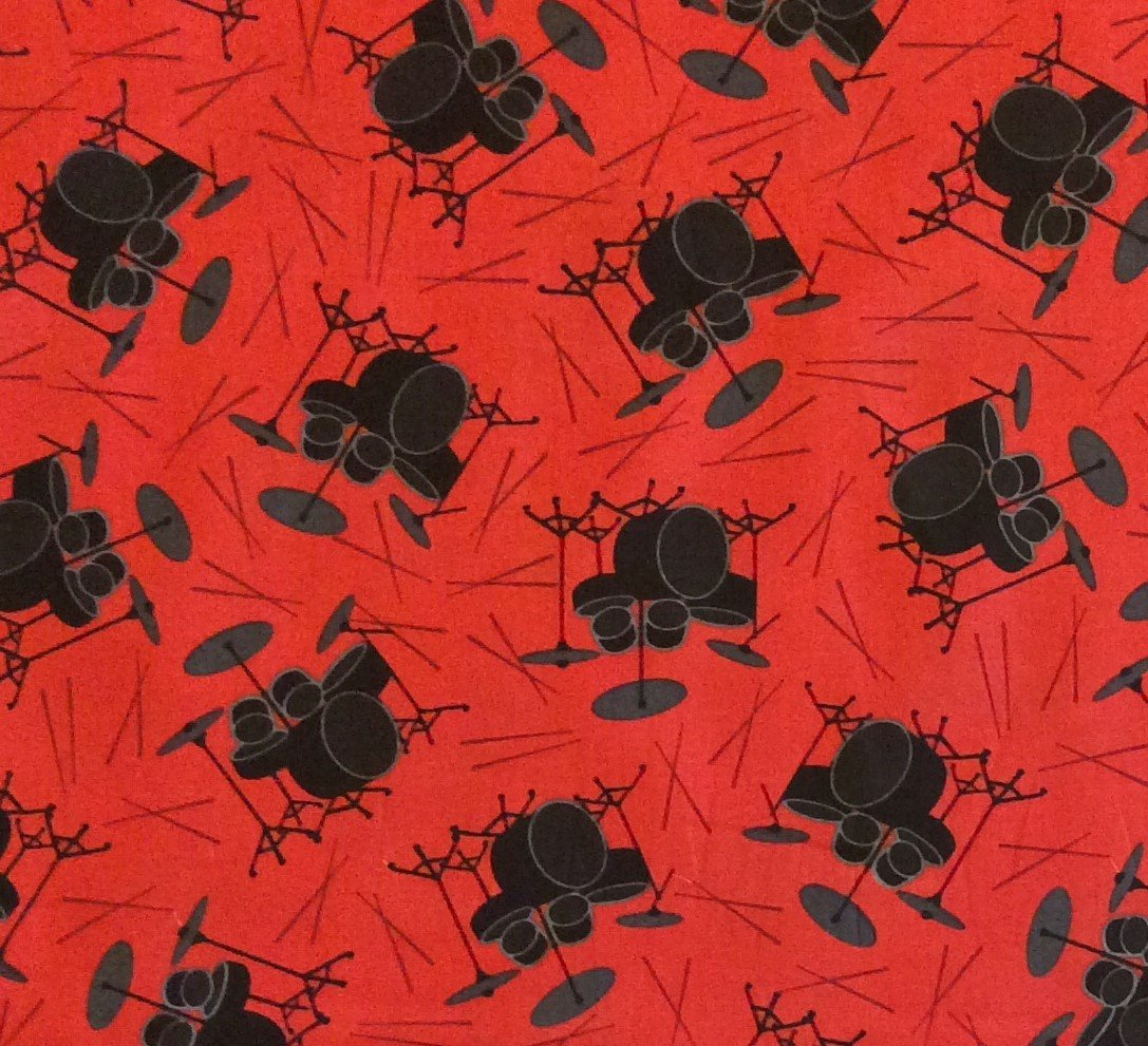 FAT QUARTER! RPFMD214 Drums Band Rock Punk Beats Percussion Music Symbal Quilting Cotton Fabric