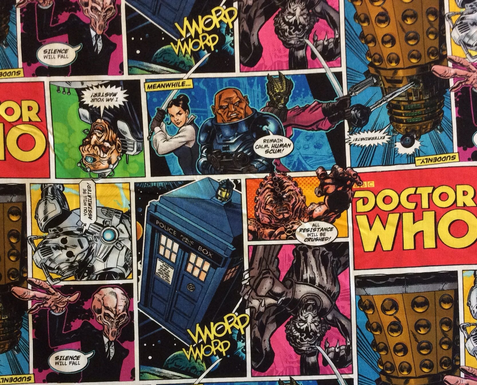 MD222 Doctor Who Dalek Cybermen Matt Smith BBC Time Space Quilting Cotton Fabric