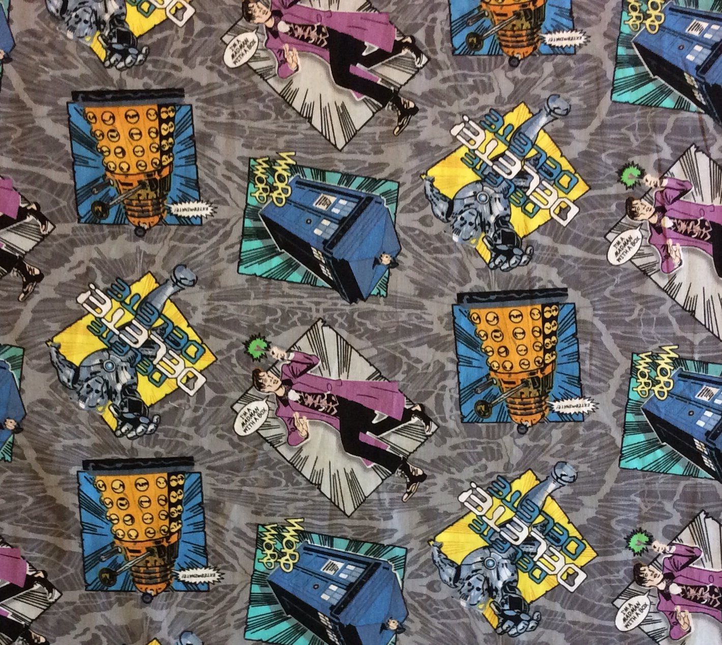 MD223 Doctor Who Dalek Cybermen Matt Smith BBC Time Space Quilting Cotton Fabric