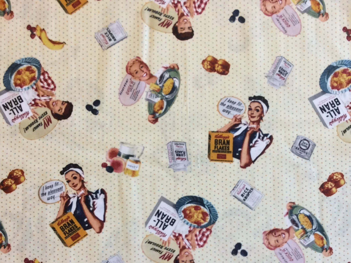 MD224 Kellogg's Cereal Retro Vintage Atomic Era Hey Mikey Cotton Quilt Fabric MD224