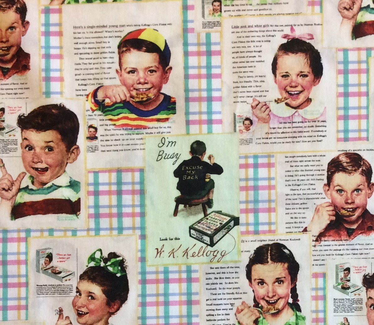 Kellogg's Cereal Retro Vintage Style Atomic Era Hey Mikey! 50s Cotton Quilt Fabric MD225