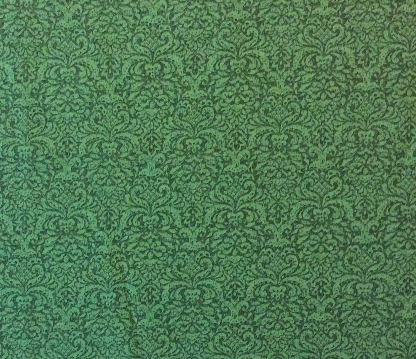 Christmas Emerald Damask Holiday Christmas Pattern Elegant Cotton Quilting Fabric MD230