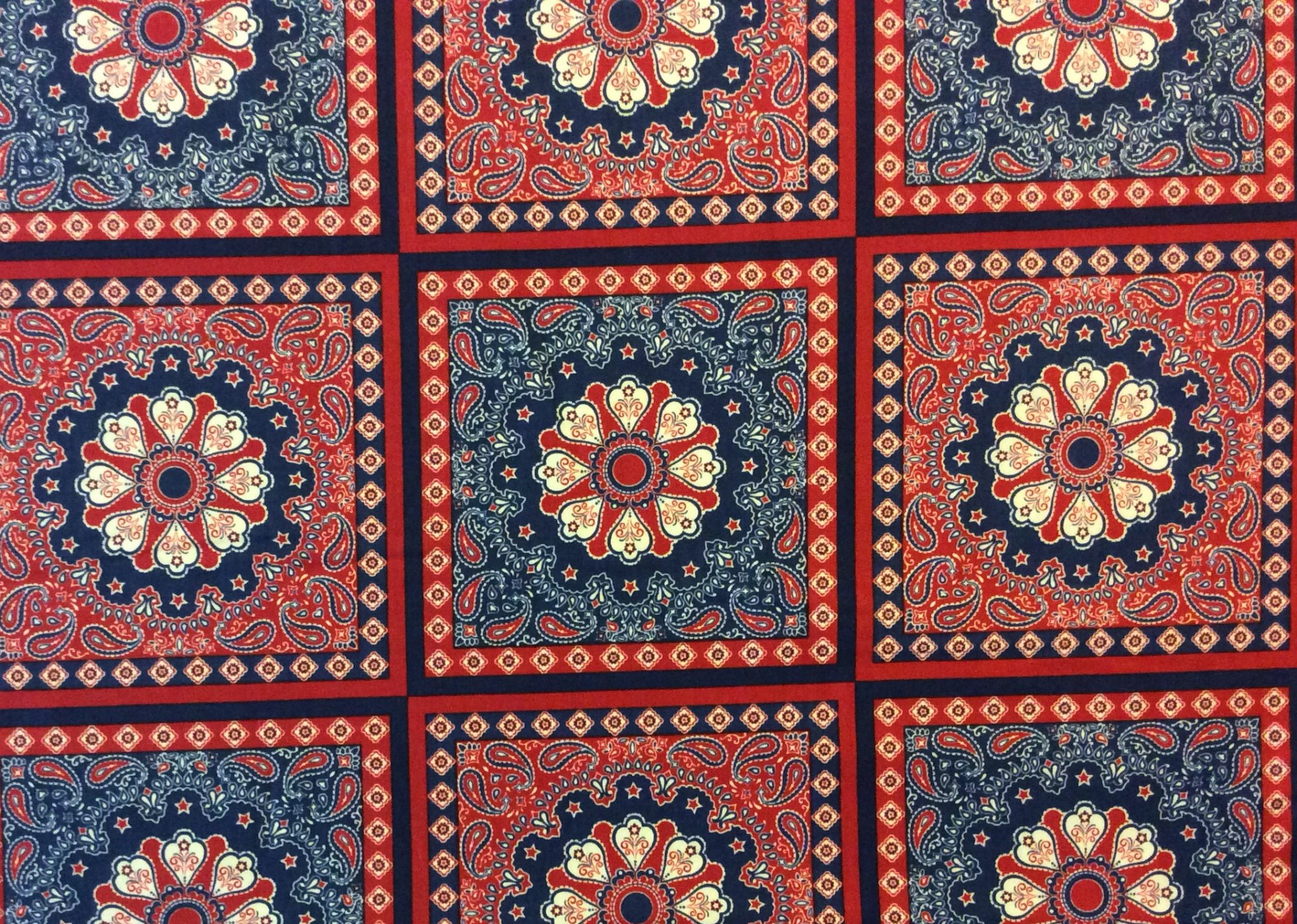 Persian Rug Panel Paisley Bandana Red White Blue Cotton Quilting Fabric MD232