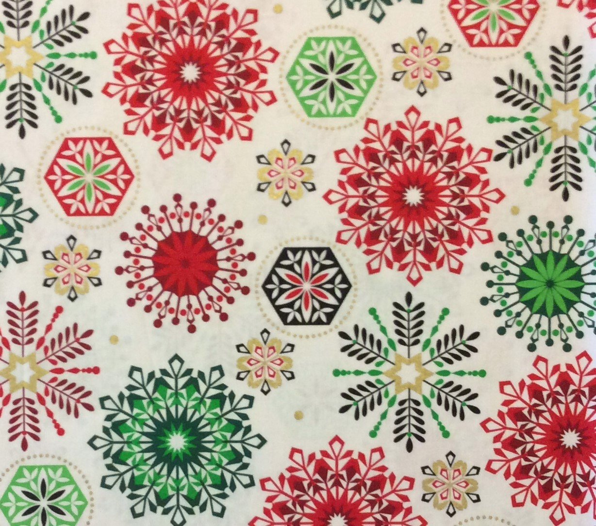 MD237 Snowflake Winter Christmas Holiday Season Red Green Cotton Quilting Fabric