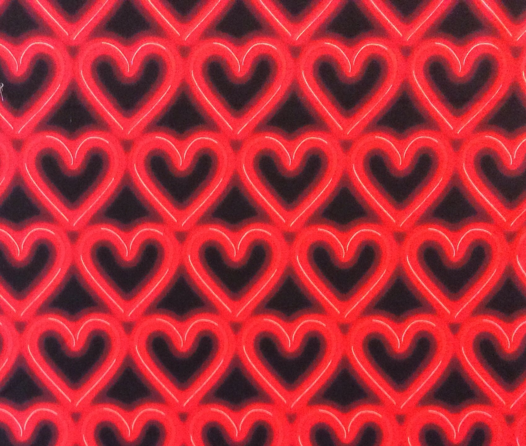 MD240 Neon Heart Red Light Love Passion Fluorescent Cotton Quilting Fabric