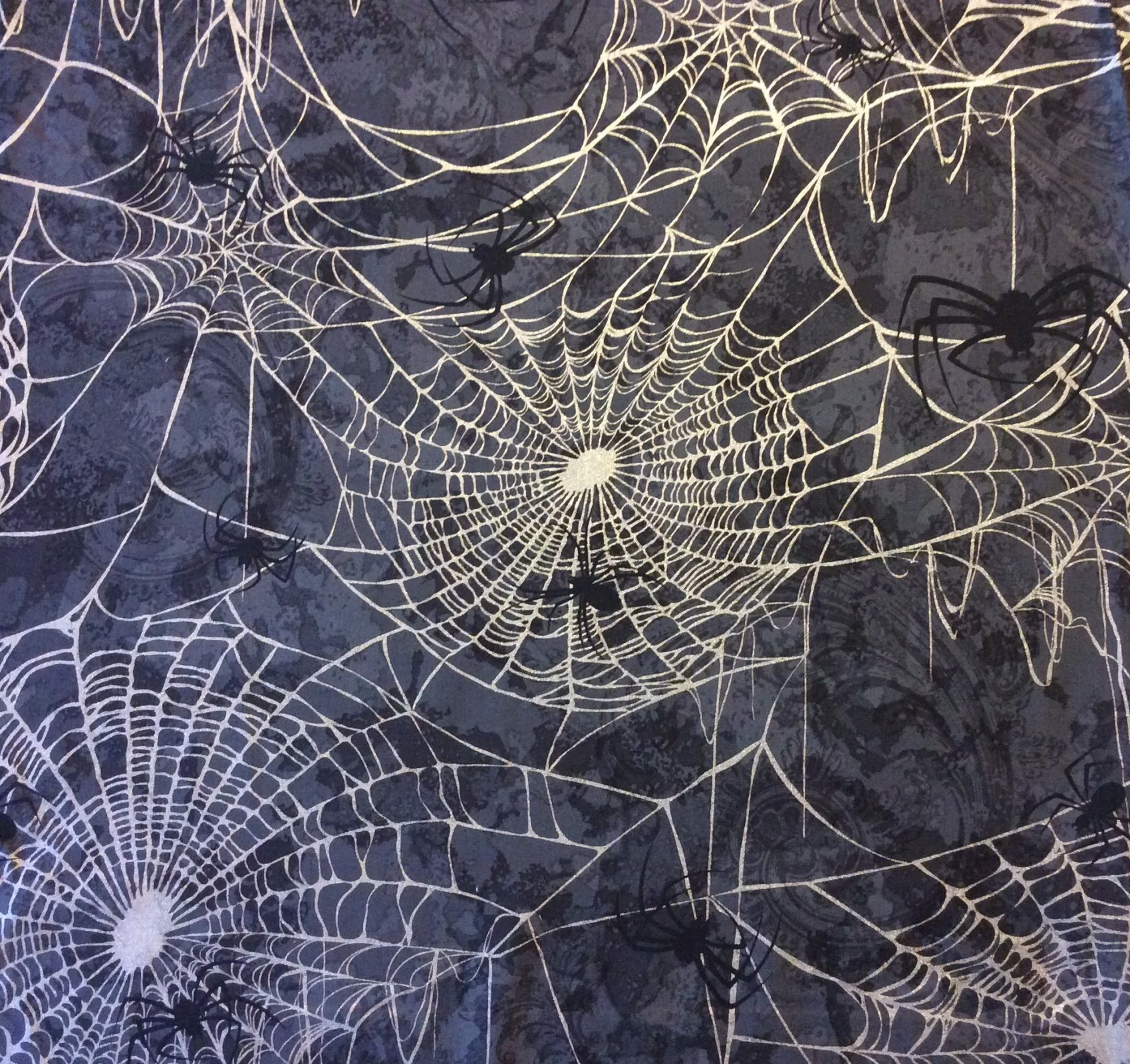 Spider Web Scary Halloween Spooky Black Widow Gloomy Bugs Quilting Cotton Fabric BE10