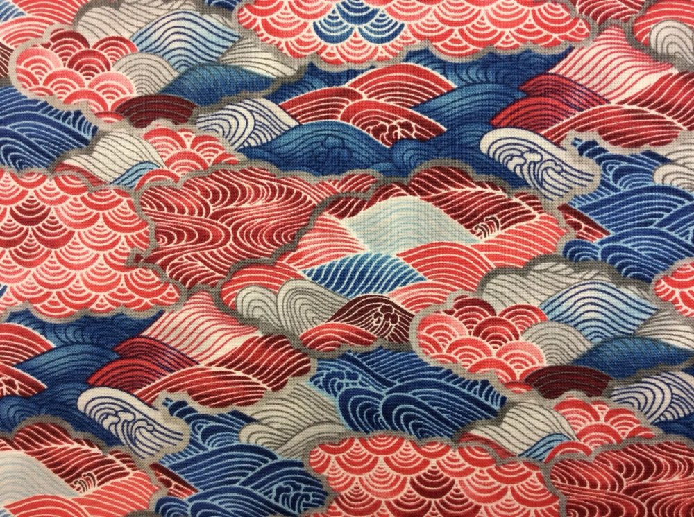 Asian Red Blue Grey Waves Abstract Cotton Fabric Quilt Fabric MD25 ***