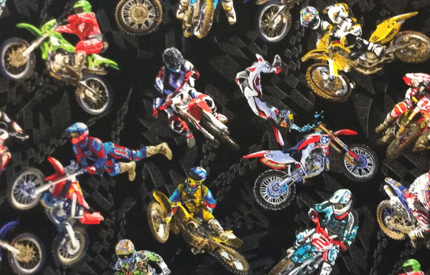 BE06 Motorcycle Dirt Bike Racing Motocross Sport Harley Quilting Cotton Fabric