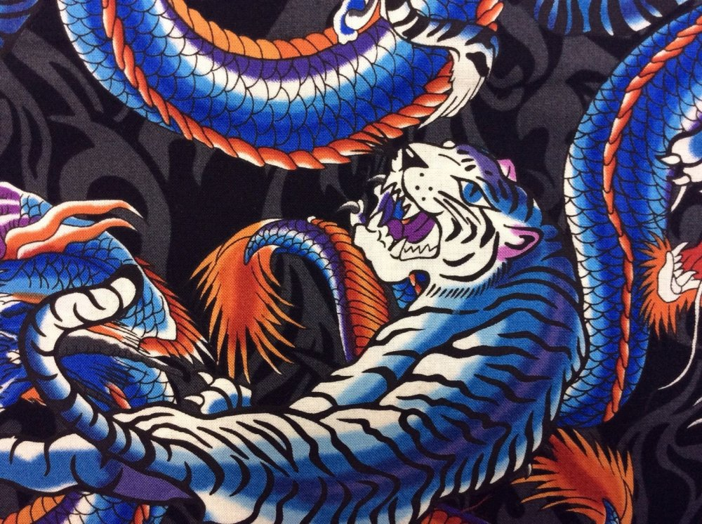 FAT QUARTER! Blue Asian Japan China Tiger Dragon Fierce Karate Cotton Quilt Fabric RPFMD26