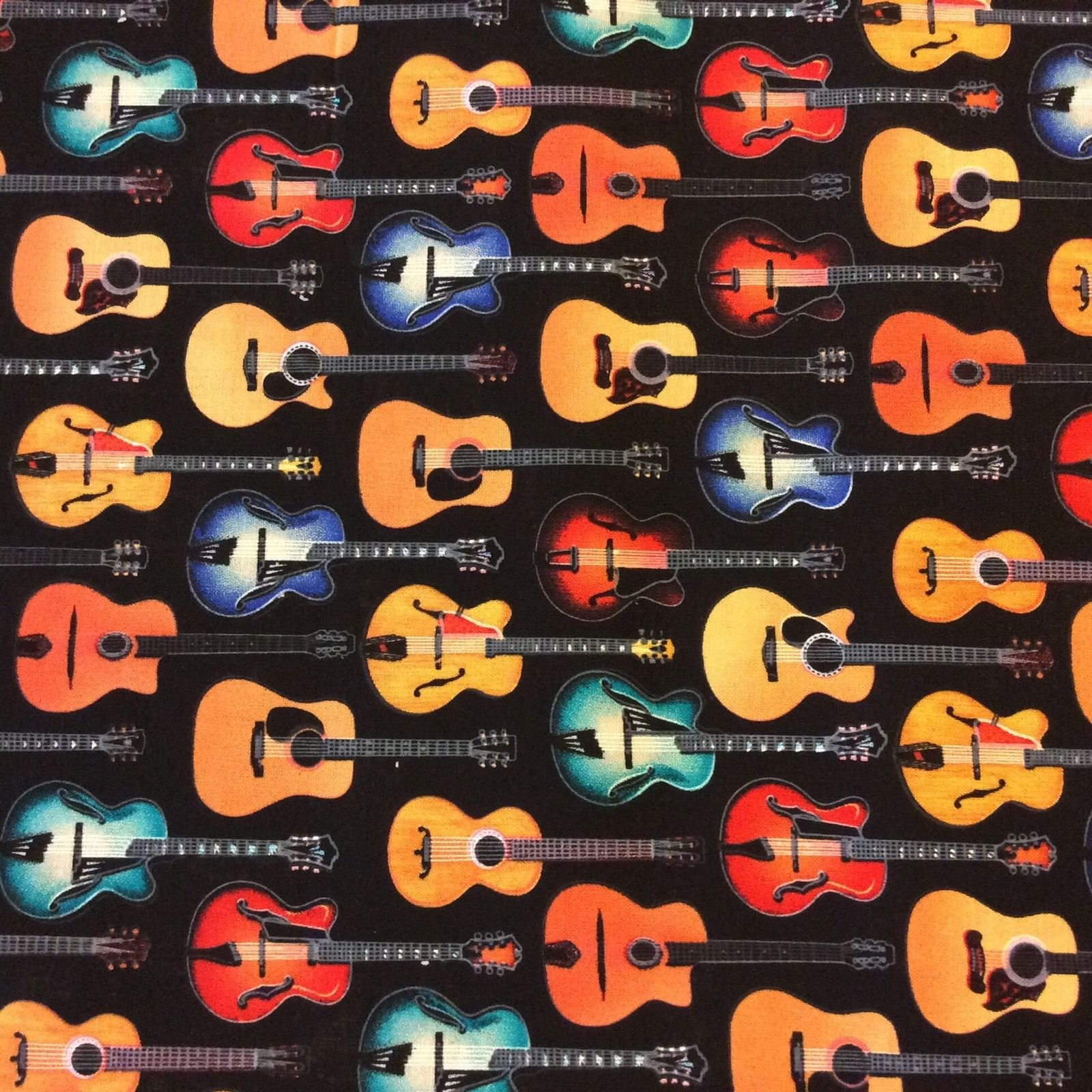 Hawaii Surf Tiki Bar MD281 Acoustic Electric Guitar Music Rock Country Band Cotton Quilt Fabric