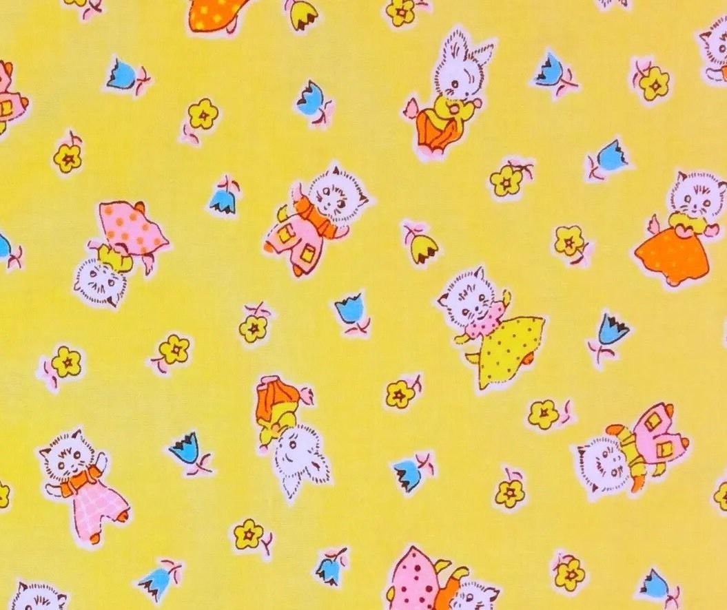 MD298 Rabbits Bunny Cats Kitty Floral Spring Cute Cartoon Cotton Quilt Fabric