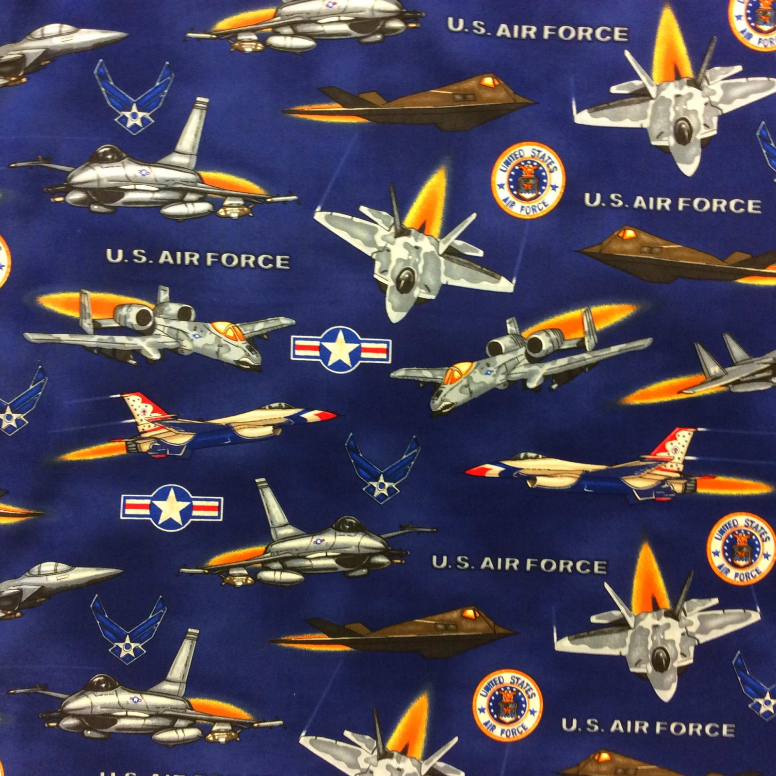 Air Force Airplane FIghter Jet Army United States USA Cotton Quilt Fabric MD305