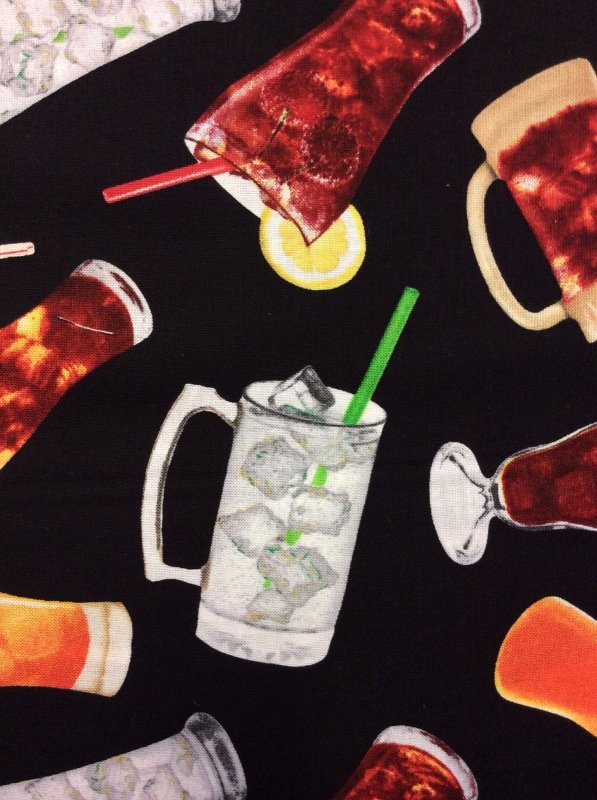 Soda Pop Coke Coca Cola Soft Drink Ice Cold Glasses Fountain Straws Refreshing Drinks 50's Cotton Quilt Fabric MD37