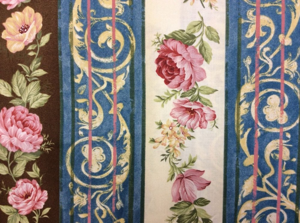 Floral Stripe Border Print Elegant Cotton Fabric Quilt