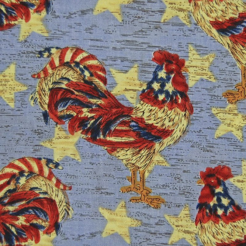 Fat Quarter! FQMD48 Patriotic Rooster Farm Star Crafting By the Piece Cotton Fabric Quilt Fabric