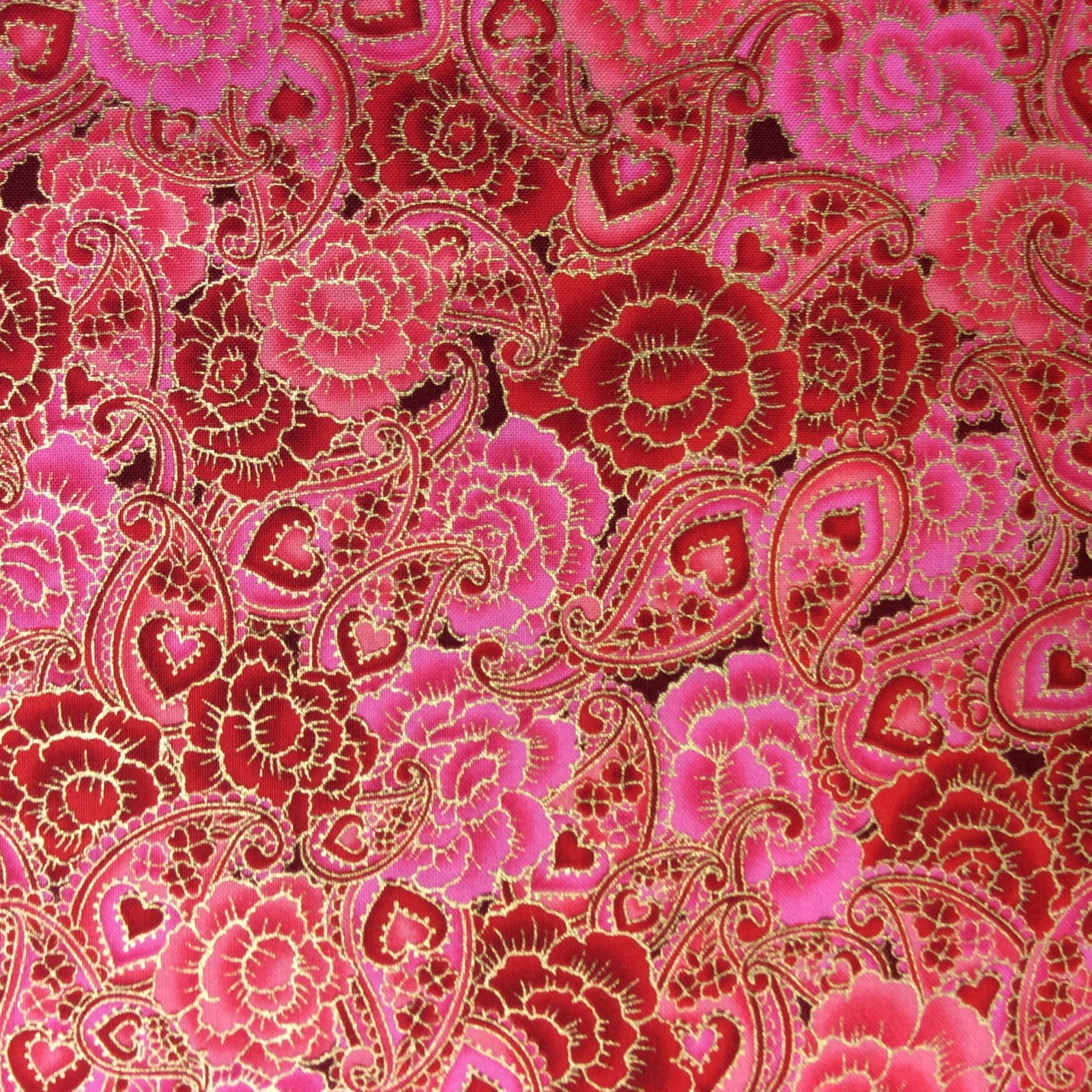 Asian Floral Rose Paisley Japan Love Romance Heart Quilting Cotton Fabric MD63
