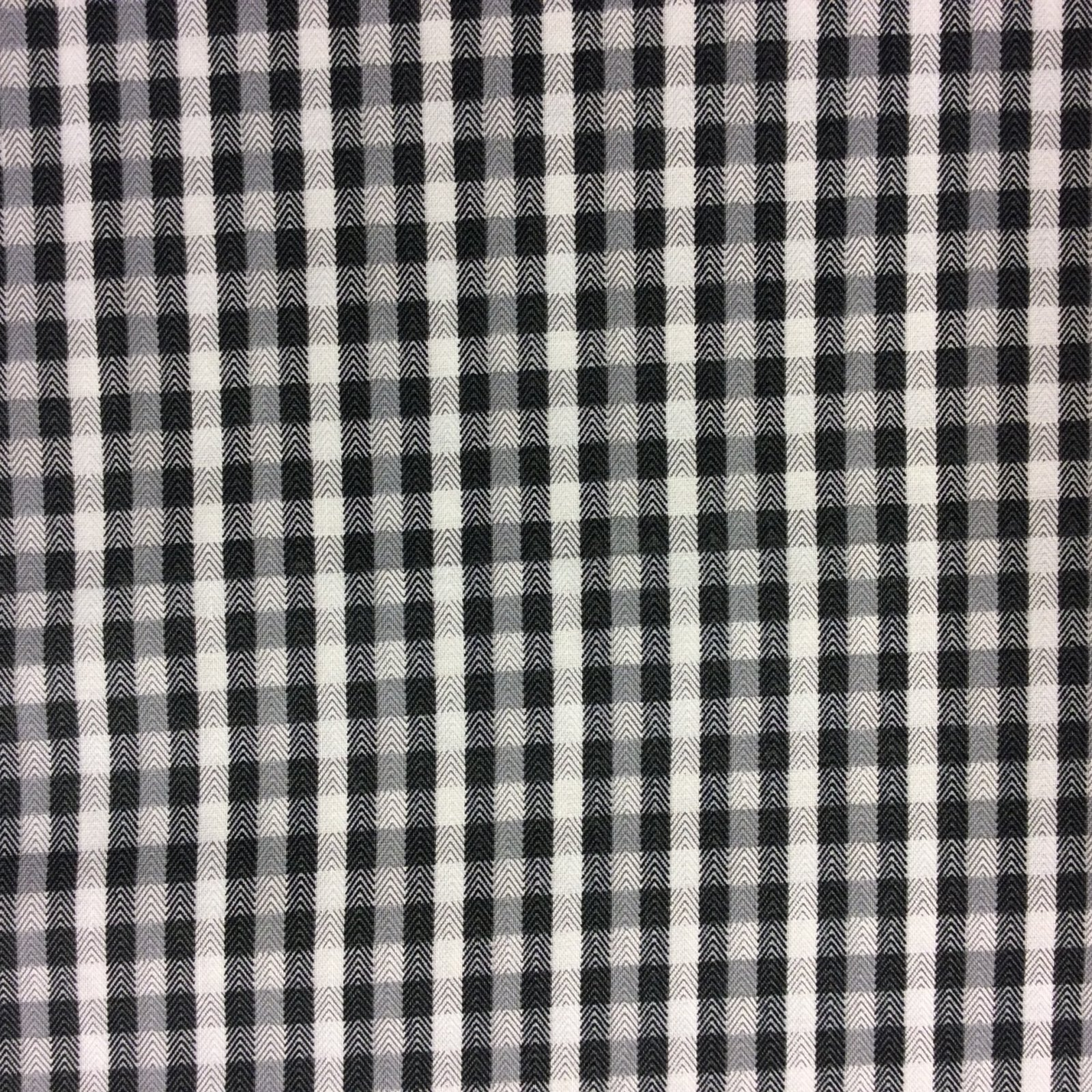 Gingham Modern Check Herringbone Plaid Grey White Cotton Quilt Fabric MD70