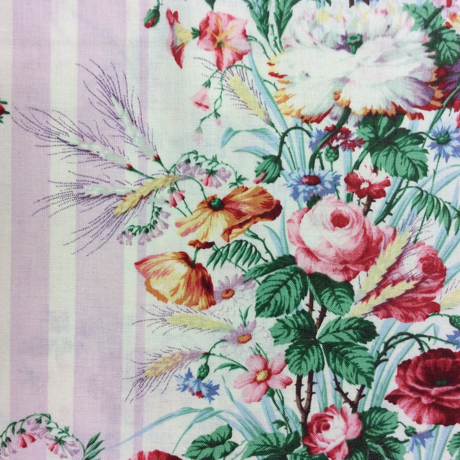 MD75 Floral Shabby French Country Chic VTG Look Garden Cotton Quilt Fabric MD75