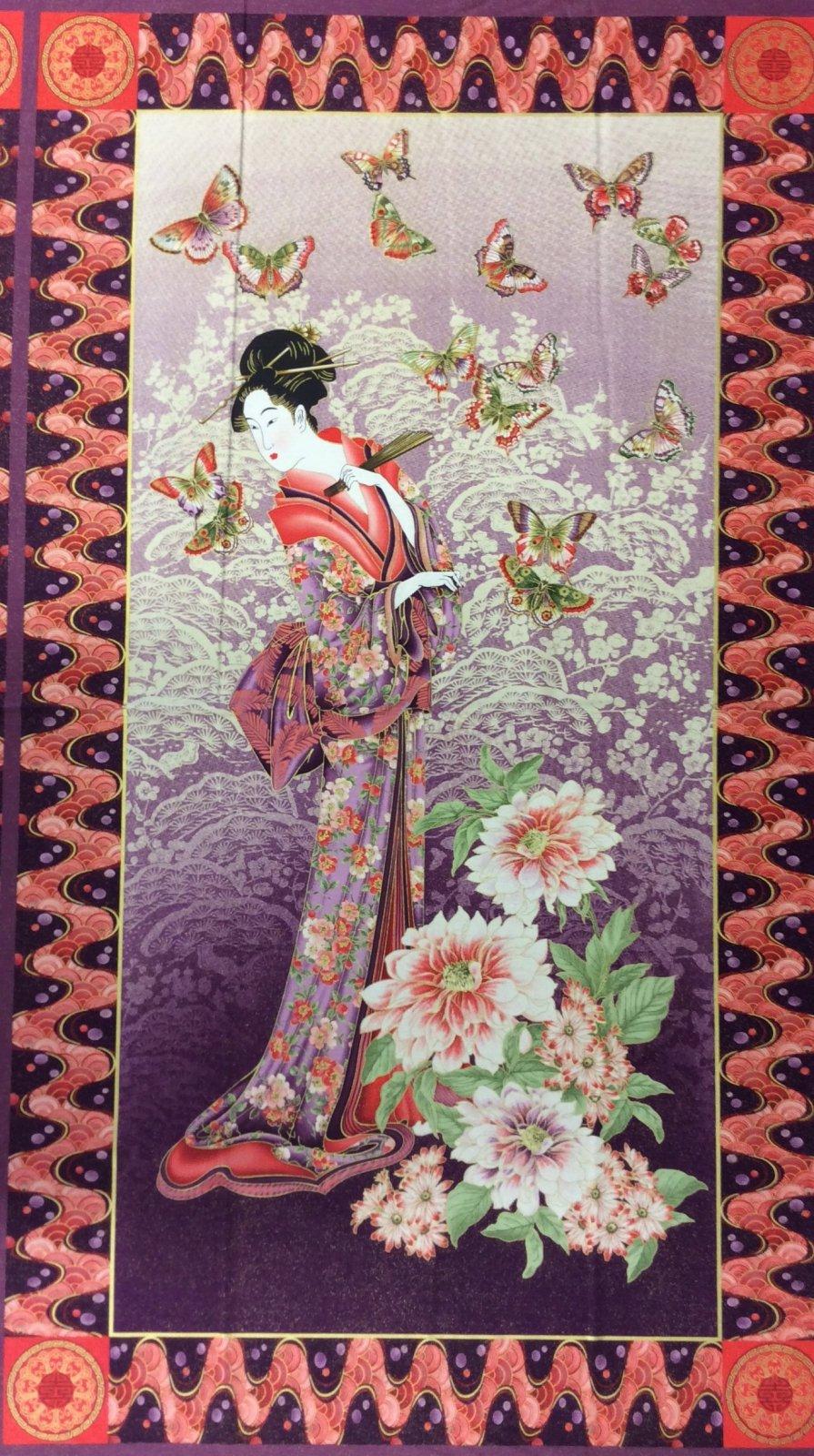 Geisha Wood Block Print Japanese Elegant Kimono PANEL Cotton Quilting Fabric PNL36 MD91