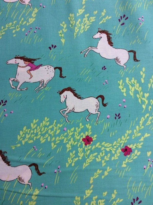 Wee Wander Sarah Jane Horses Flower Fields Cute Cotton Fabric Quilt Fabric MM23