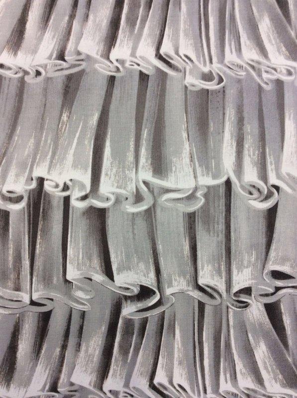 FAT QUARTER! Froufrou Shades of Grey Ruffle Frills Cotton Fabric Quilt Fabric RPFMM28