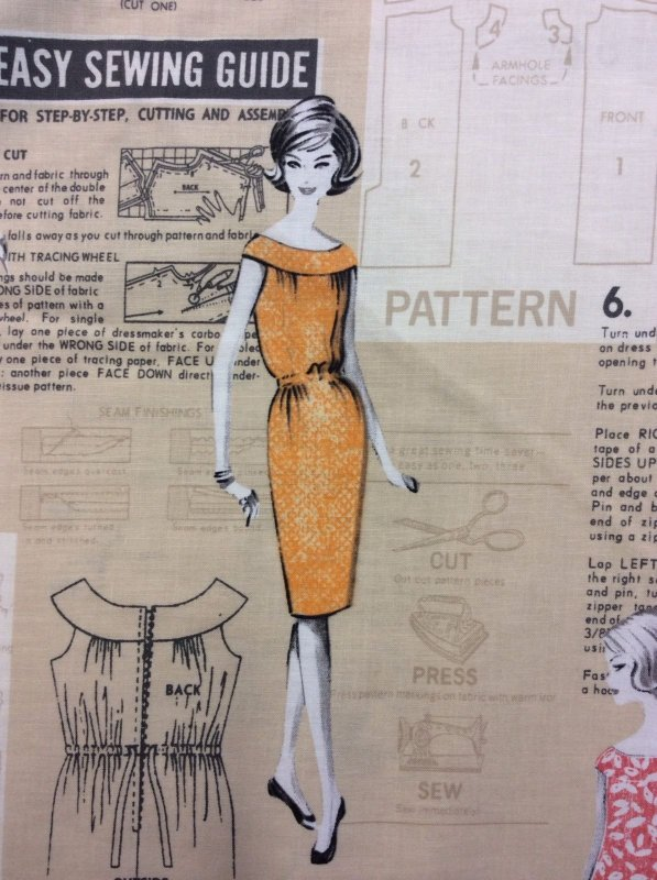 Retro Vogue Style Couture Fashion Sewing Pattern Cotton Fabric Quilt ...