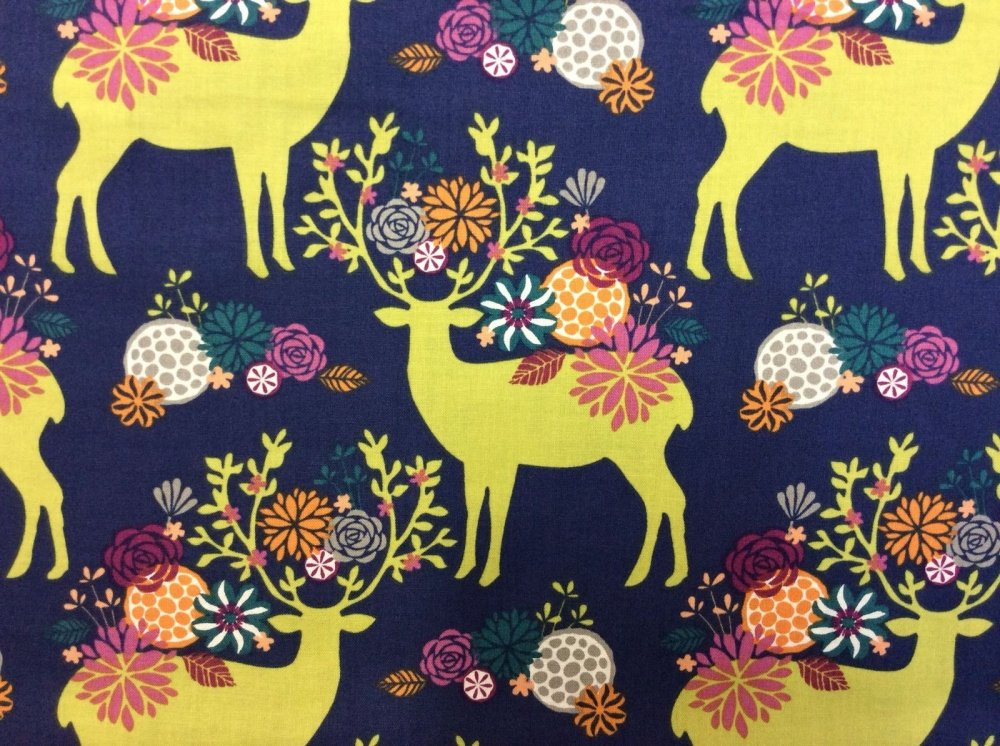 Floral Deer Colorful Antlers Wildlife Cotton Fabric Quilt Fabric MM33