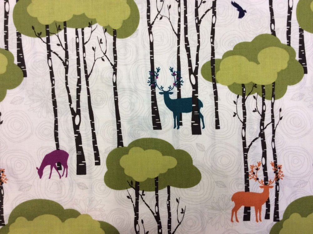 Scandinavian Retro Graphic Deer In The Woods Colorful Fun Antlers Cotton Fabric Quilt Fabric MM34