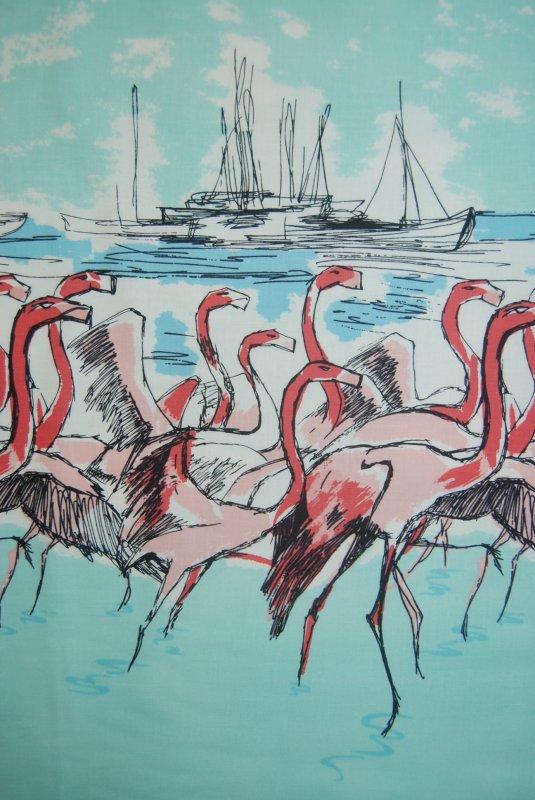MM41 Flamingo Border Print Sailing Birds Ocean Boat Quilting Cotton Quilt Fabric