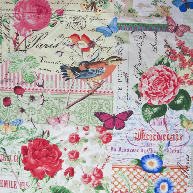 MM47 French Script Collage Birds Floral Menagerie Quilting Cotton Quilt Fabric