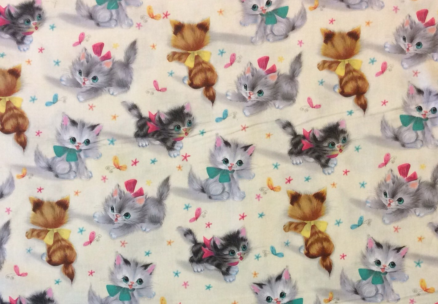Kitty Cat Kittens Rare Retro Vintage Style Cotton Quilting Fabric MM78