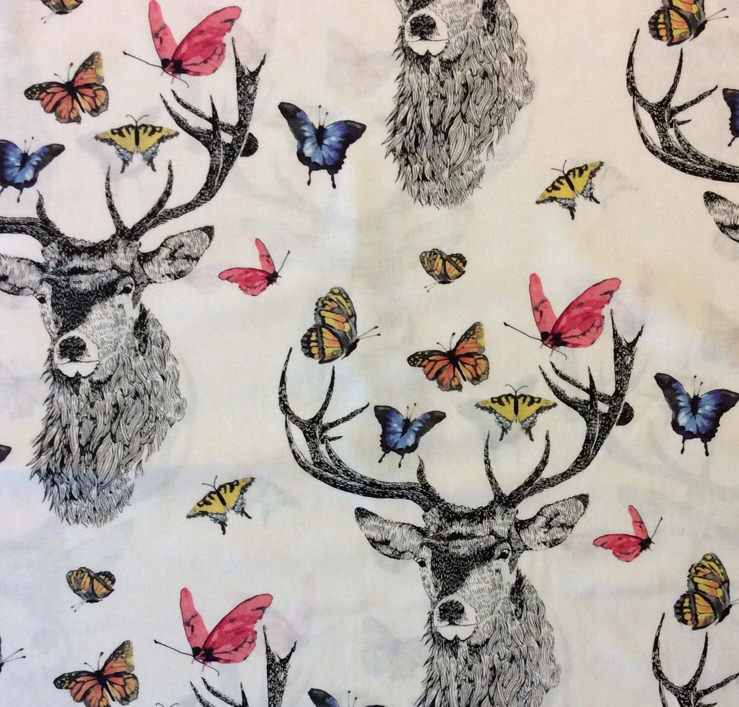 Deer Drawing Ink Butterfly Spring Nature Modern Art Cotton Quilt Fabric MM82