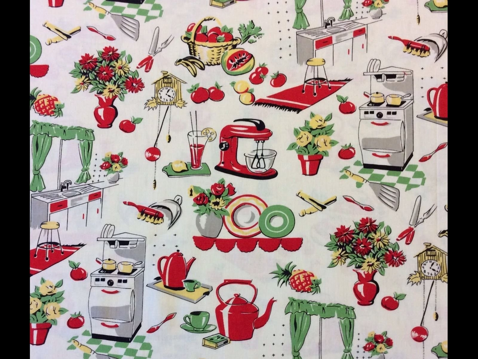 Retro atomic kitschy kitchen cooking oven mixer cotton quilt fabric mm86