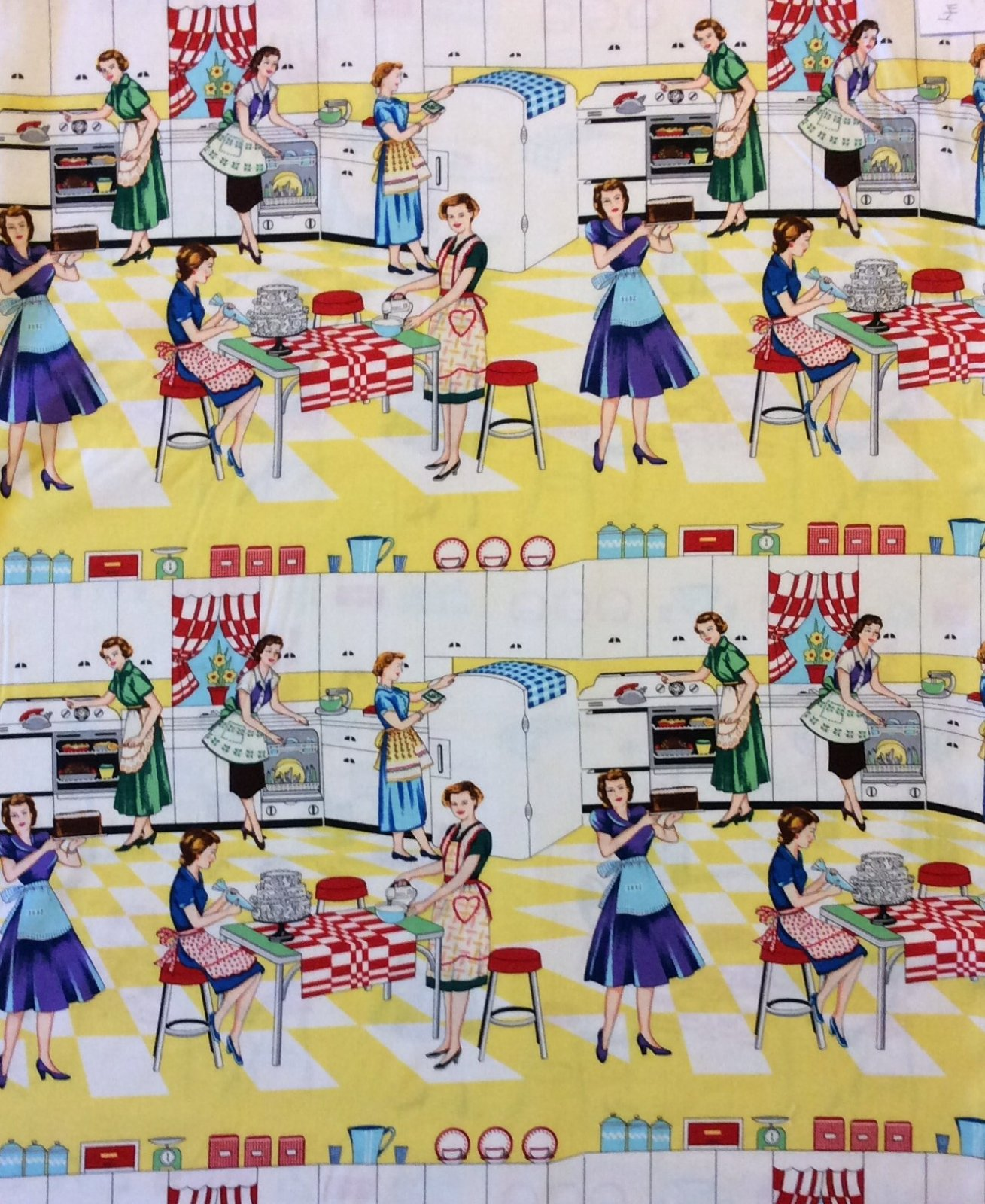 Atomic Era Kitchen Retro Housewife Fifties Cooking Cleaning Domestic Cotton Quilt Fabric MM95