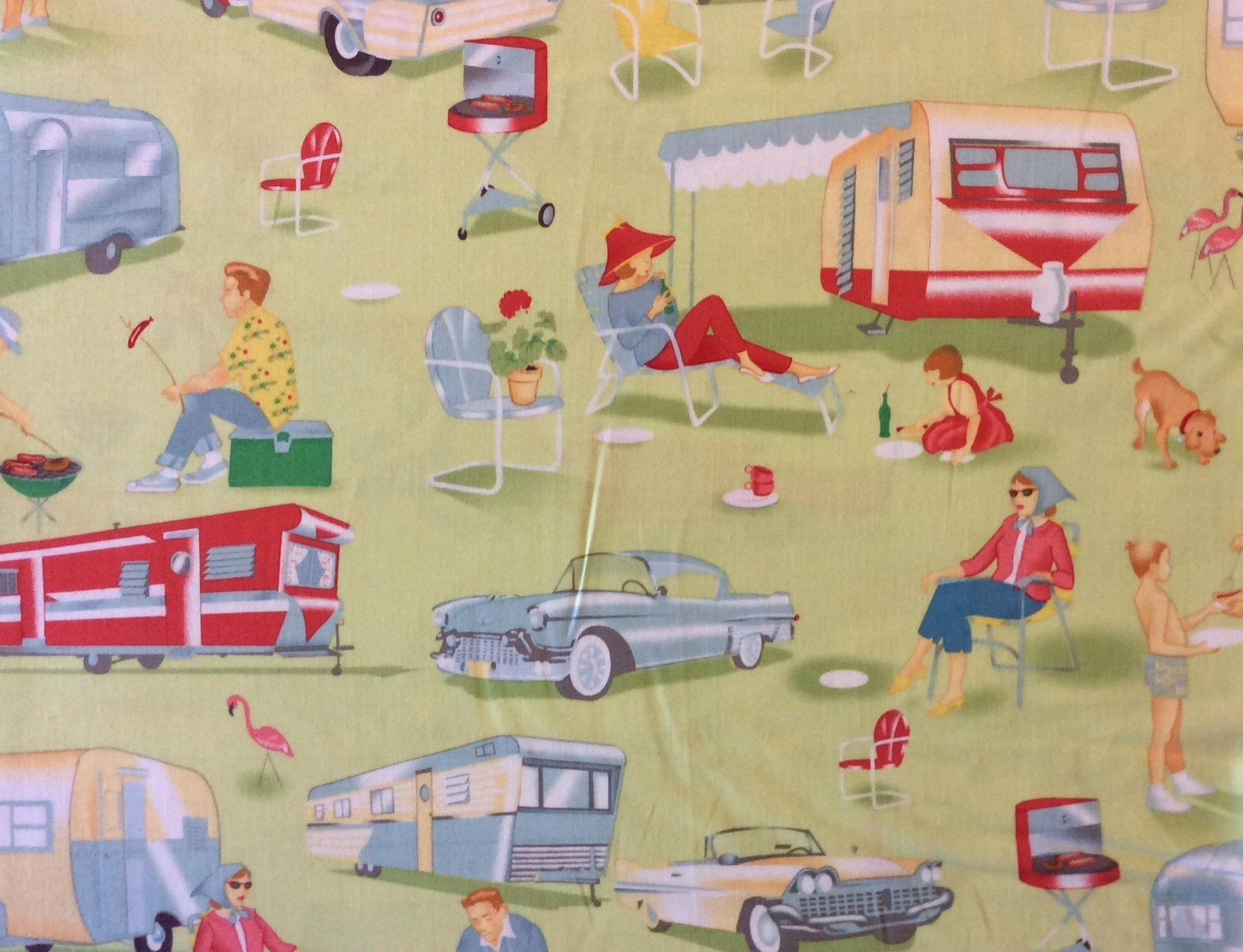 Retro Atomic Trailer Camping Cookout BBQ Kitsch Quilting Cotton Fabric MM96