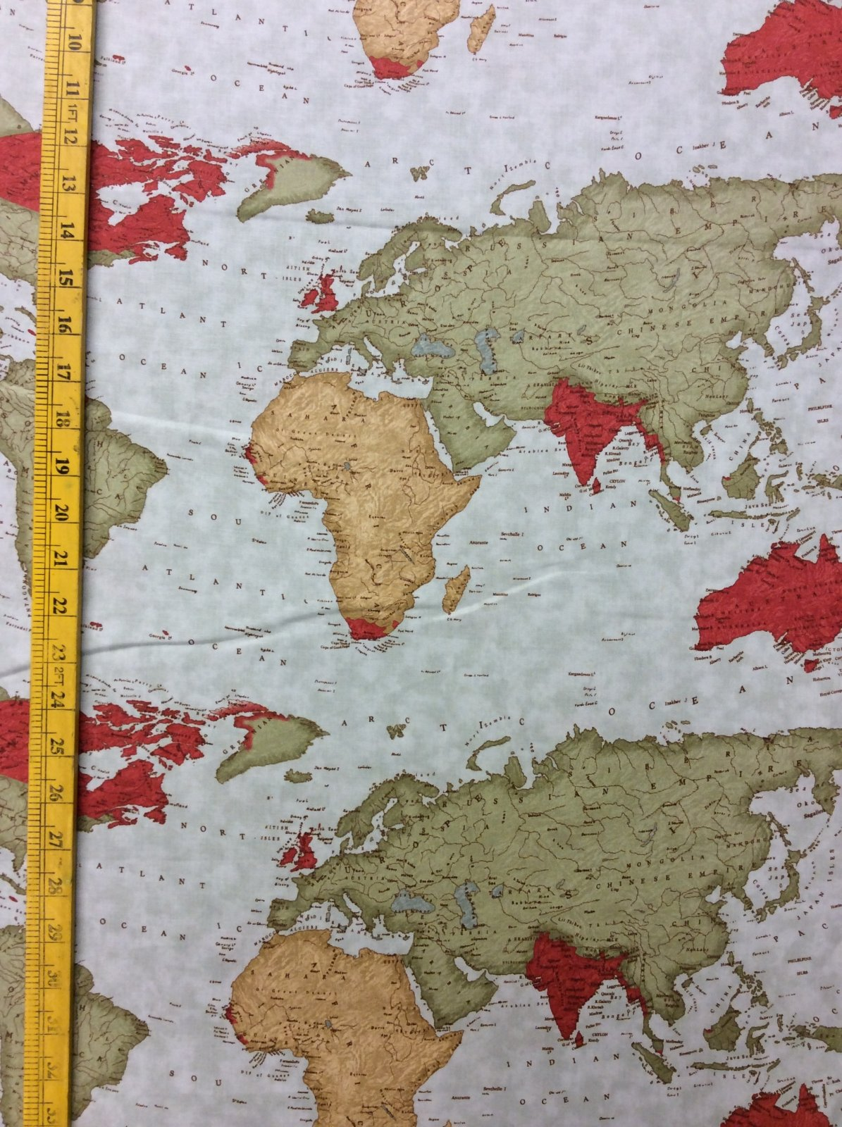 Map of the World Atlas Continent Quilt Cotton Quilting Fabric MO08
