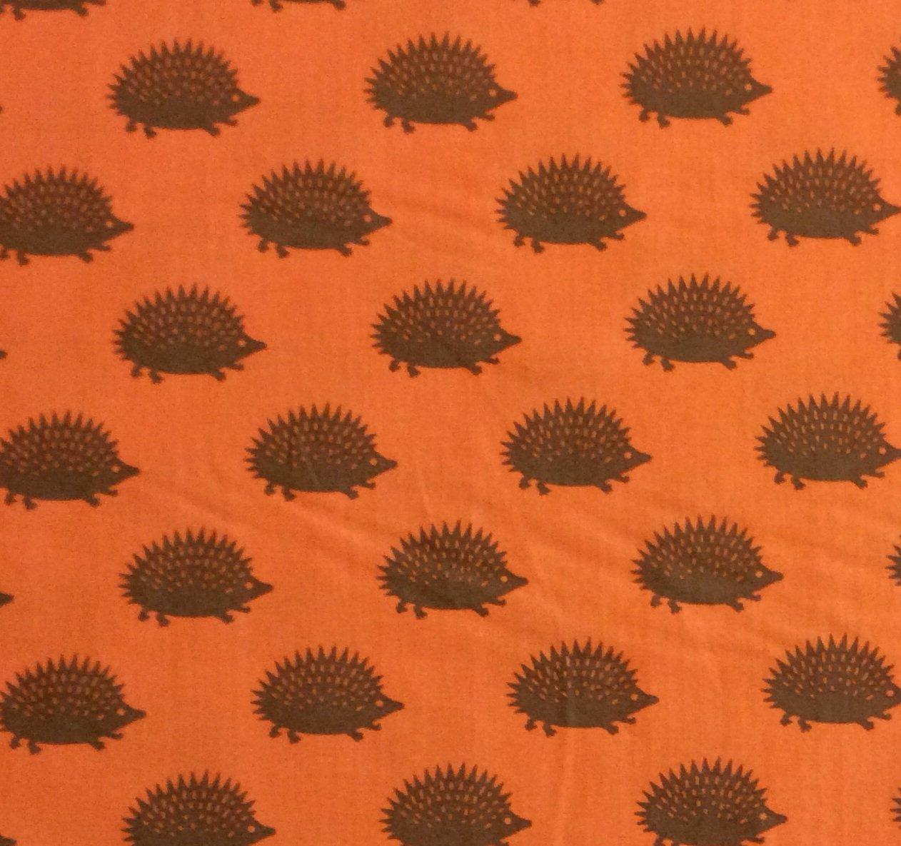 MO28 Vintage Hedgehog Cute Retro Art Print Fall Autumn Quilting Cotton Fabric