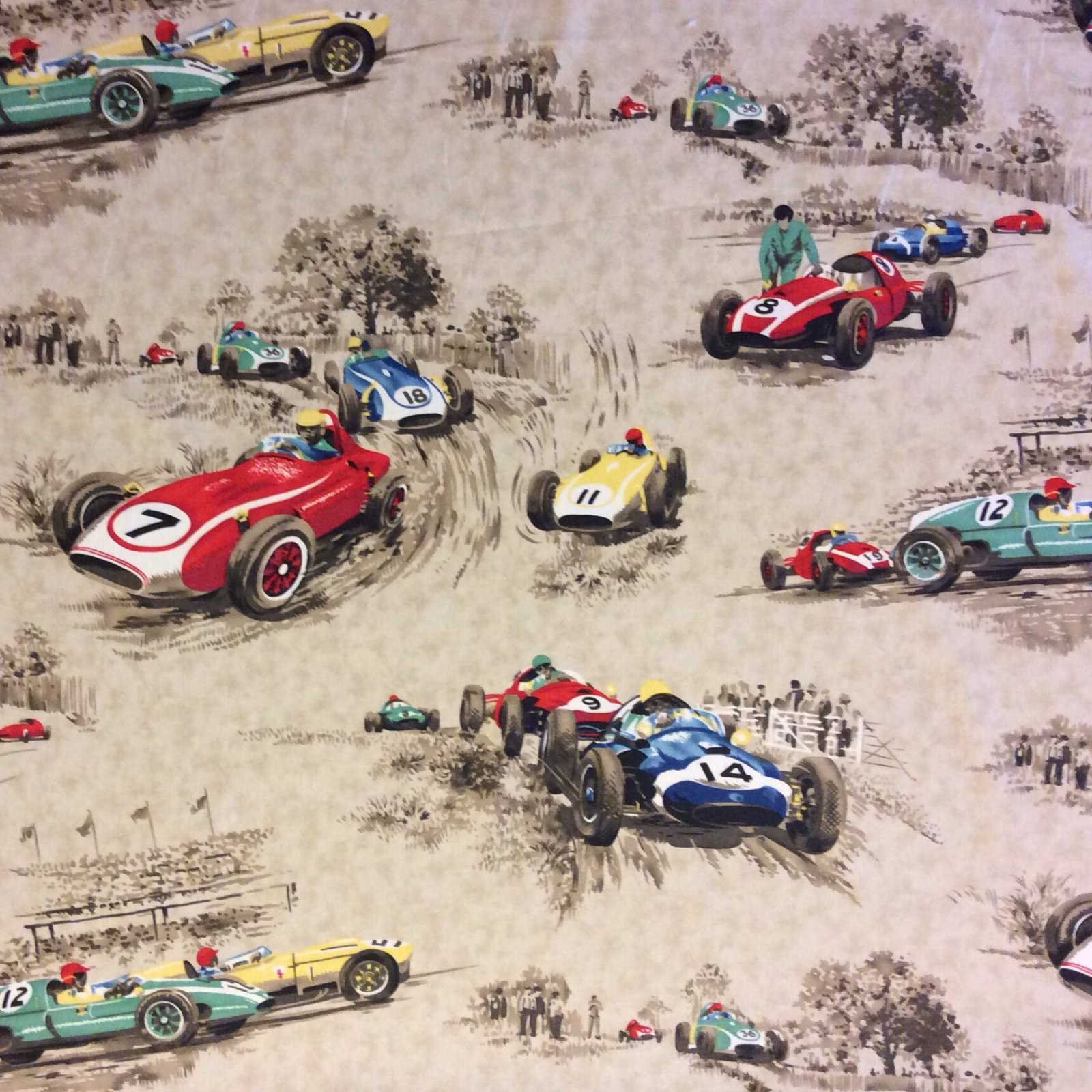 Grand Prix Race Car Tea Stained Retro Racing Sport Quilting Cotton Fabric MO47