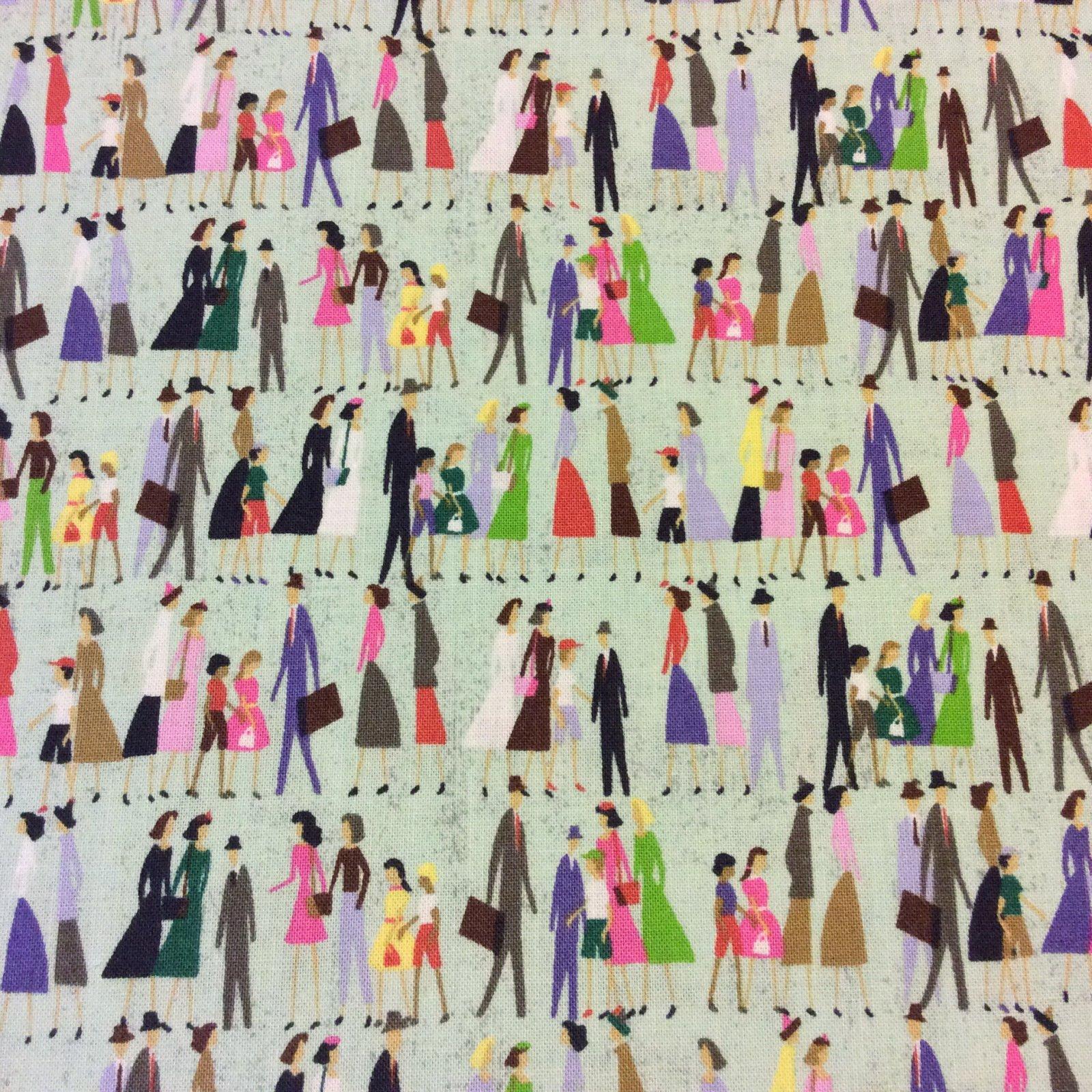 MO98 City People Travel Urban New York Paris Shopping Cute Cotton Quilt Fabric