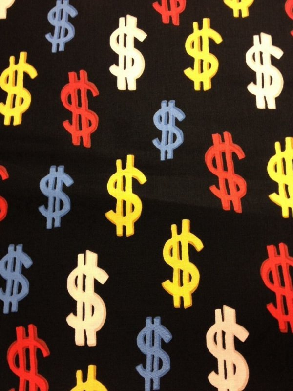 Cash Money Dollar Signs Colorful Money Cotton Fabric Quilt Fabric WI07