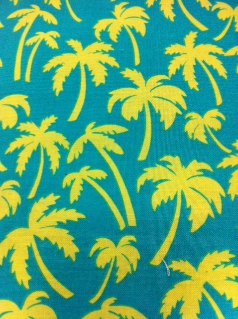 N01  Retro Beach Palm Tree Cabana Quilt Cotton Fabric