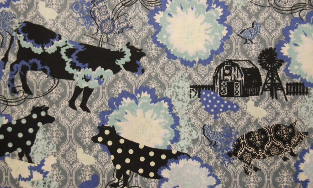N132 Urban Farm Polka Dot Cow Chicken Farm Animals cotton fabric quilt fabric